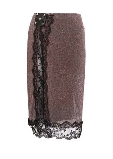Christopher Kane Crystal and lace trim crepe skirt