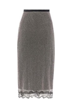 Christopher Kane Crystal-chainmail lace-trimmed wrap skirt