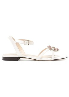 Christopher Kane Crystal daisy-cupchain satin sandals