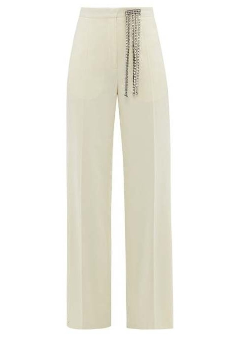Christopher Kane Crystal-embellished brushed wool-twill trousers