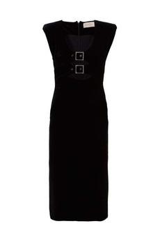 Christopher Kane Crystal-embellished buckle velvet midi dress