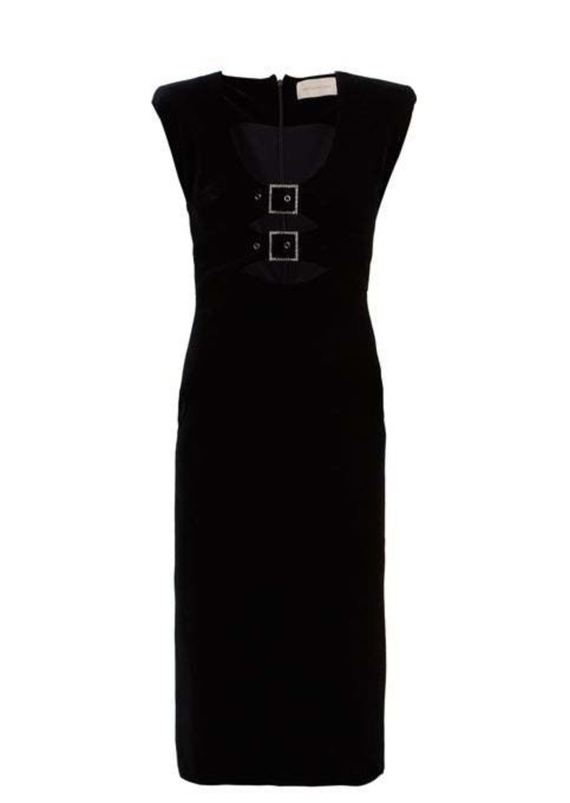 Christopher Kane Crystal-embellished buckle velvet midi dress