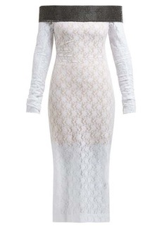 Christopher Kane Crystal-embellished chantilly-lace midi dress