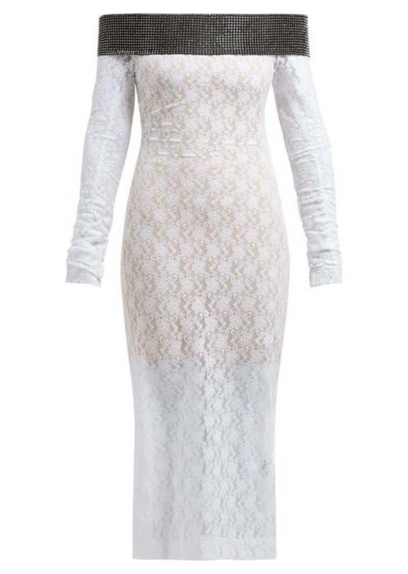Christopher Kane Crystal-embellished chantilly-lace midi dress