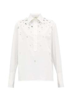Christopher Kane Crystal-embellished cotton-poplin shirt