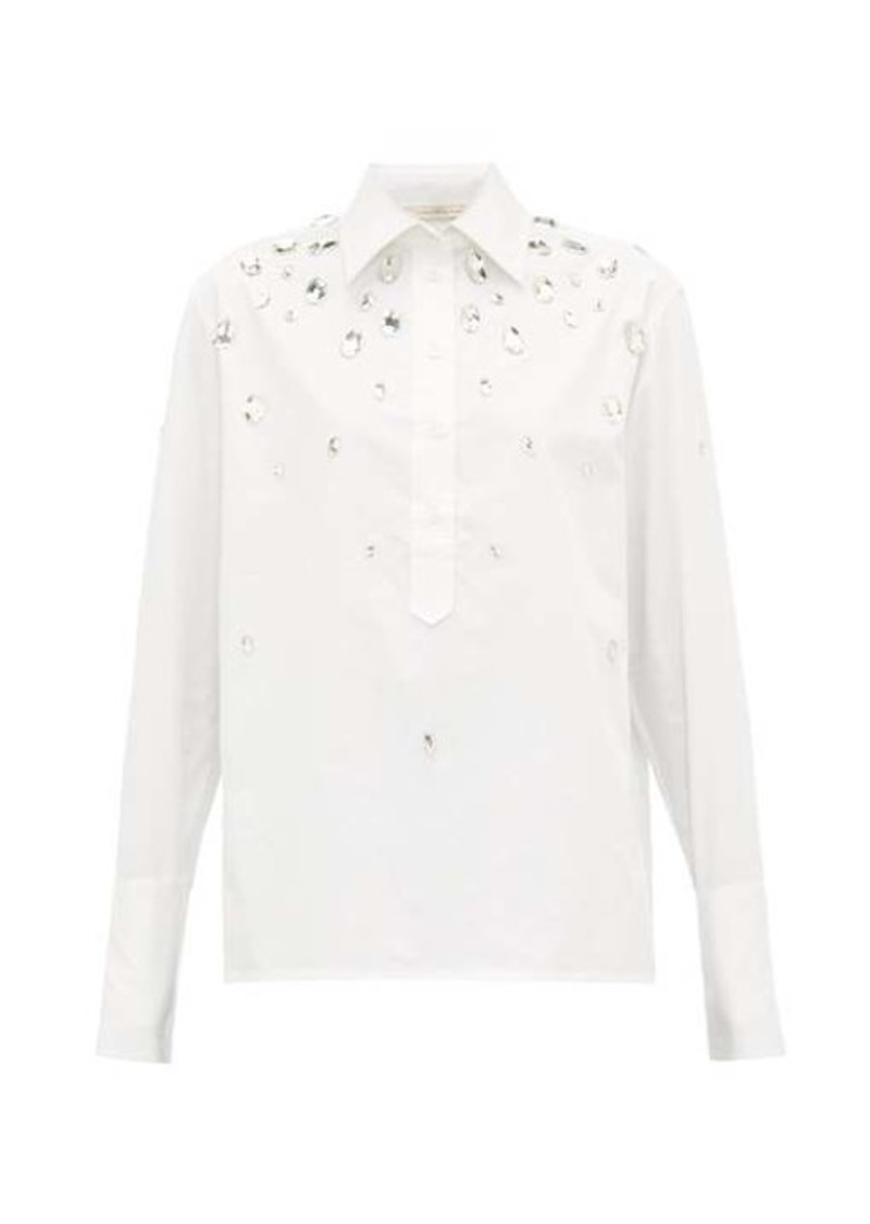 Christopher Kane Crystal-embellished cotton-poplin shirt