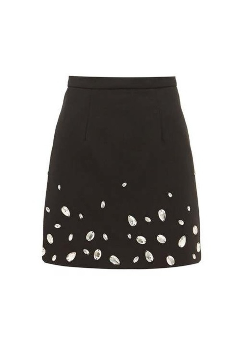 Christopher Kane Crystal-embellished crépe mini skirt
