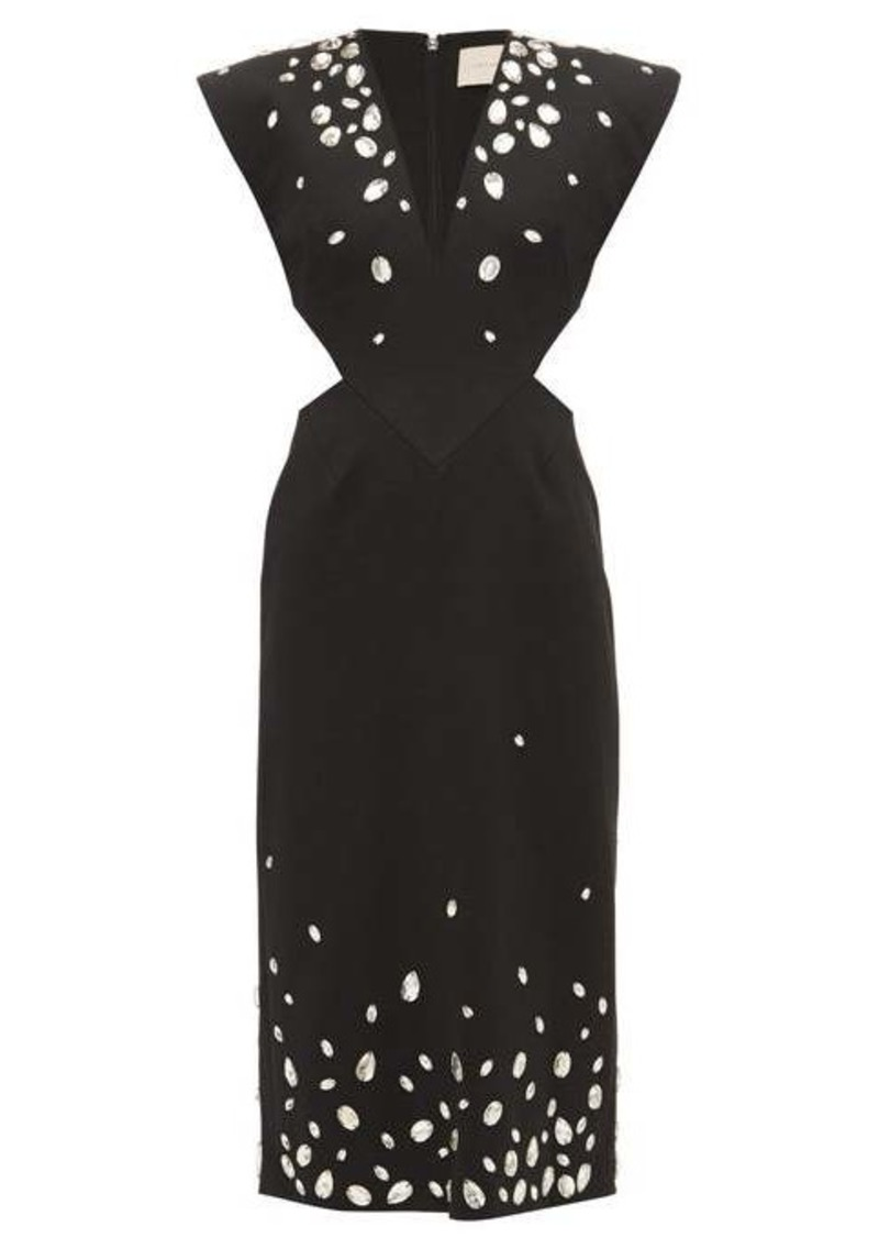 Christopher Kane Crystal-embellished cut-out crépe dress