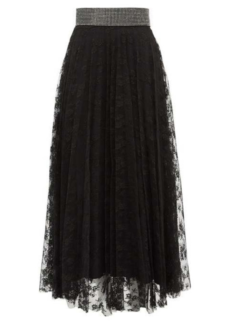 Christopher Kane Crystal-embellished floral-lace skirt