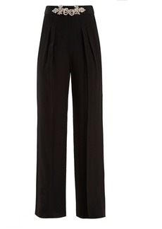 Christopher Kane Crystal-embellished high-rise crepe trousers