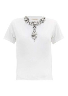 Christopher Kane Crystal-embellished jersey T-shirt