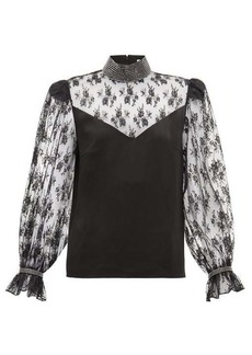 Christopher Kane Crystal-embellished lace and satin blouse