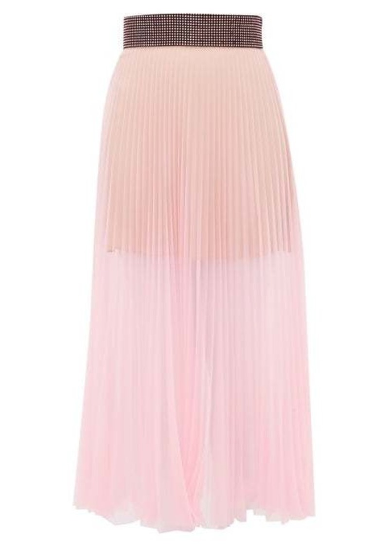 Christopher Kane Crystal-embellished pleated tulle midi skirt