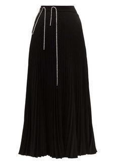 Christopher Kane Crystal-embellished plissé-crepe skirt