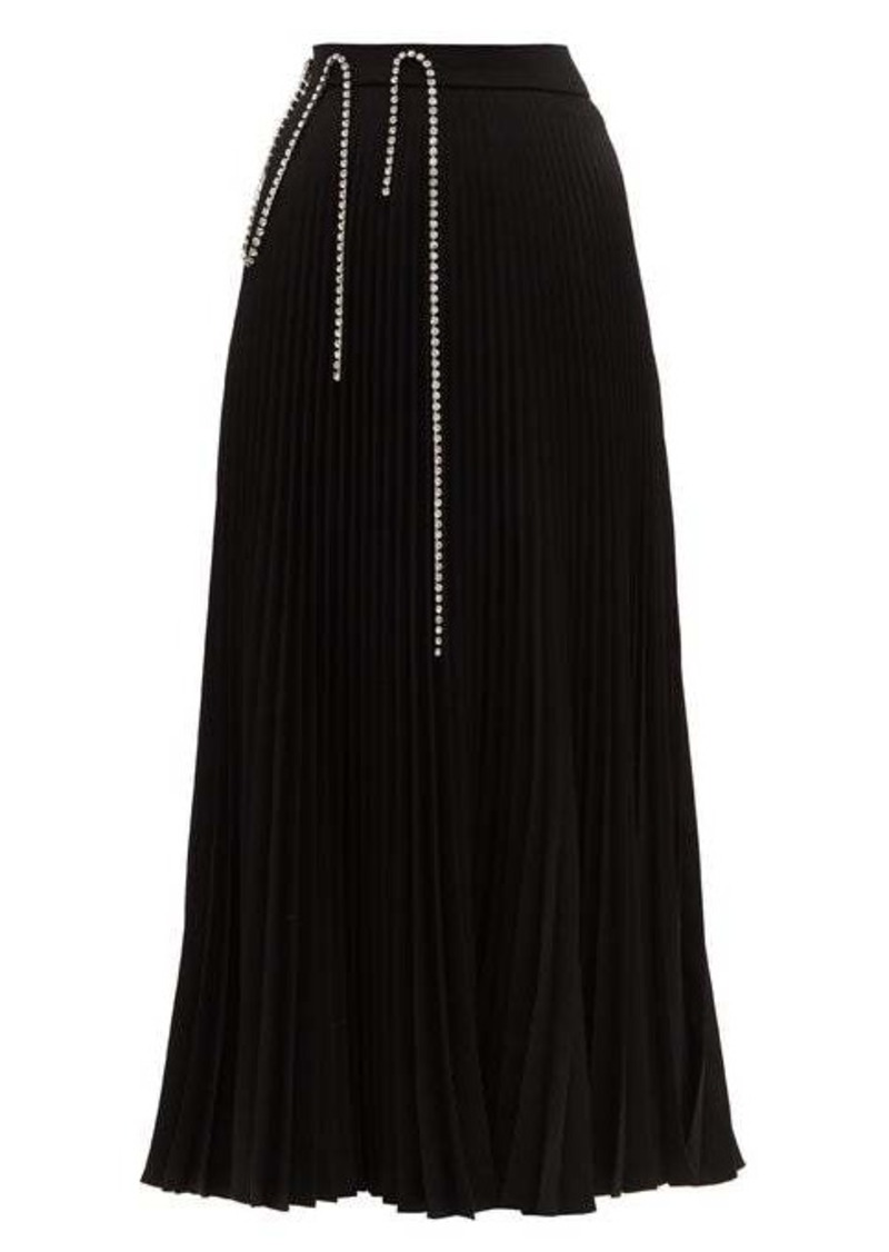 Christopher Kane Crystal-embellished plissé-crepe skirt