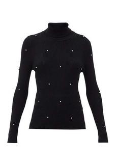 Christopher Kane Crystal-embellished ribbed merino-wool sweater