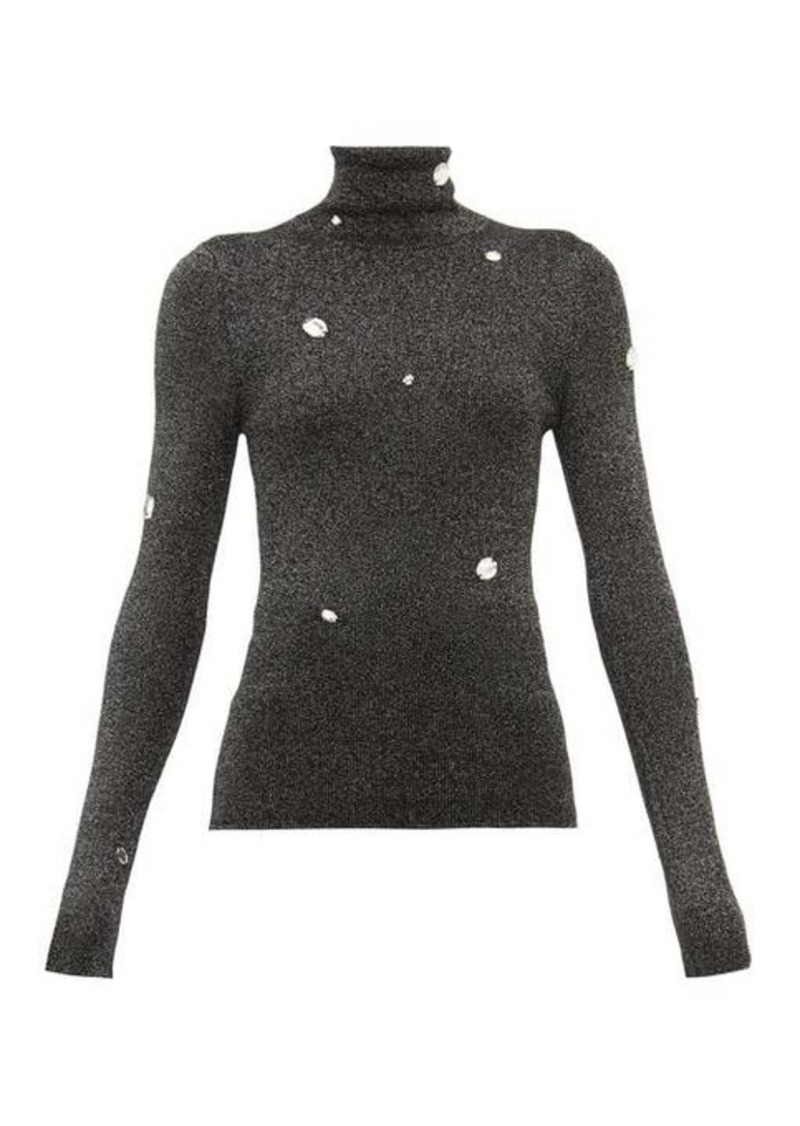 Christopher Kane Crystal-embellished roll-neck lamé sweater