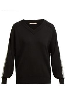 Christopher Kane Crystal-embellished trim wool sweater