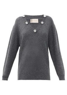 Christopher Kane Crystal-embellished V-neck cashmere-blend sweater