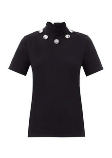 Christopher Kane Crystal tie-neck organic cotton-jersey T-shirt