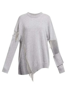 Christopher Kane Crystal-trim cut-out wool sweater