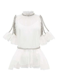 Christopher Kane Cupcake crystal-chain silk-organza top