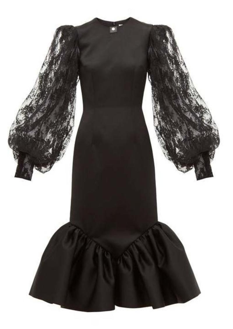 Christopher Kane Cupcake lace-sleeve satin midi dress