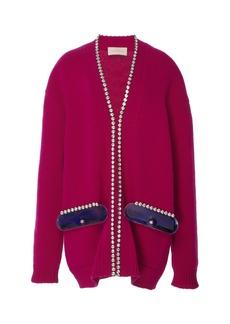 Christopher Kane Cupchain Embellished Wool Cardigan