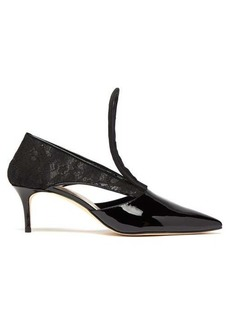Christopher Kane Cut-out lace-insert patent-leather pumps