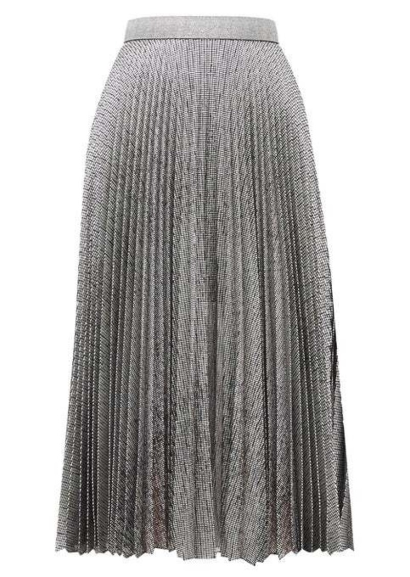 Christopher Kane DNA pleated metallic tulle midi skirt
