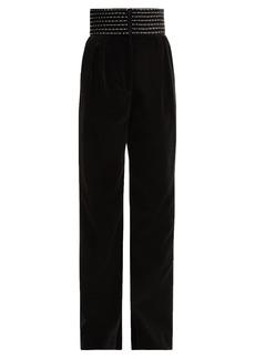 Christopher Kane Dot Dash crystal-embellished velvet trousers
