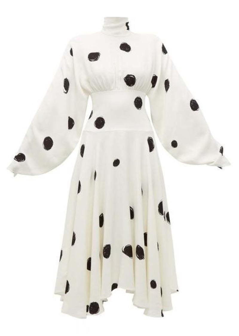 Christopher Kane Dot-print high-neck crepe midi dress