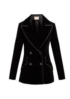 Christopher Kane Double-breasted bead-embellished velvet blazer