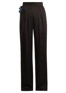 Christopher Kane Embellished-flower satin trousers