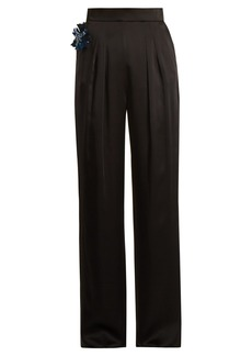 Christopher Kane Embellished-flower satin trousers