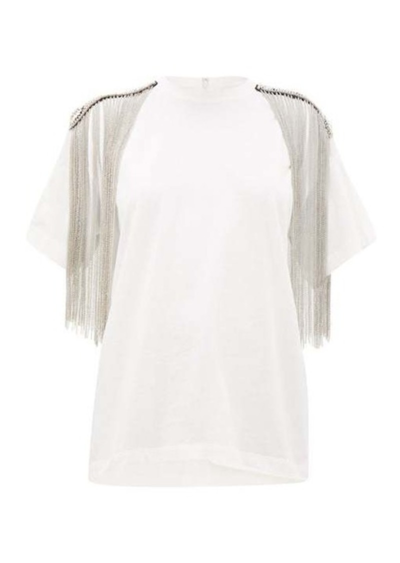 Christopher Kane Embellished shoulders cotton-jersey T-shirt