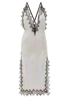 Christopher Kane Eyelash lace-trimmed iridescent chainmail dress
