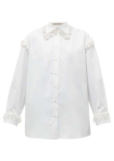 Christopher Kane Faux pearl-embellished oversized cotton shirt