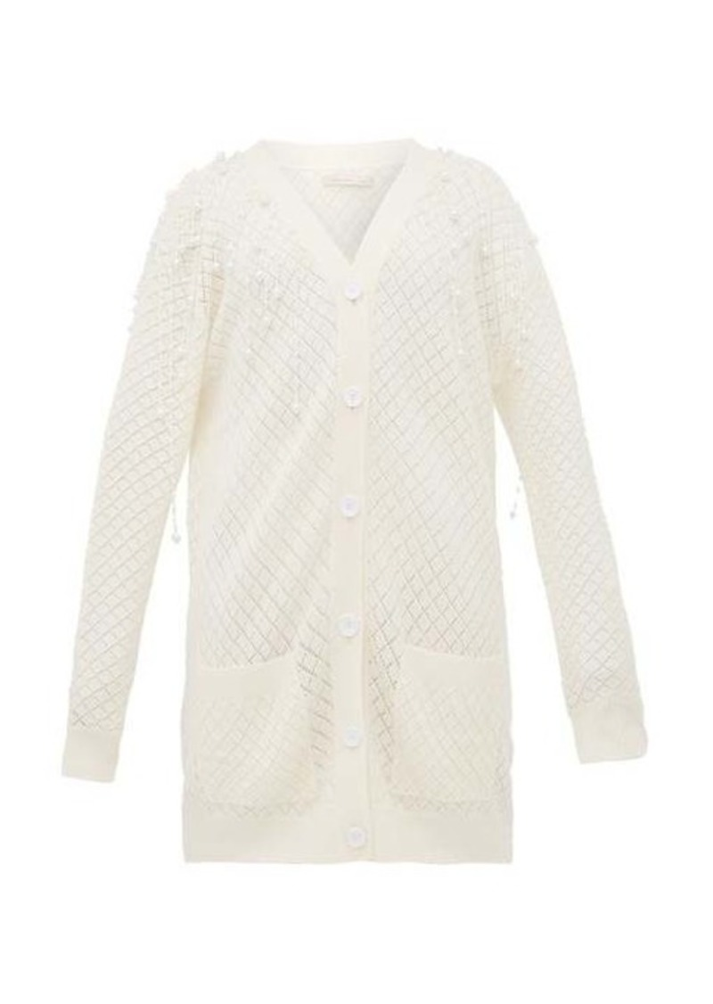 Christopher Kane Faux pearl-embellished wool cardigan