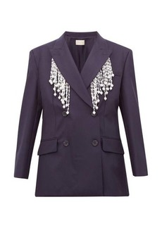 Christopher Kane Faux pearl-fringed double-breasted wool blazer