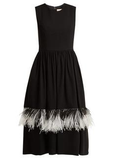 Christopher Kane Feather-embellished wool-blend dress
