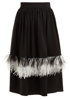 Christopher Kane Feather-embellished wool-blend midi skirt