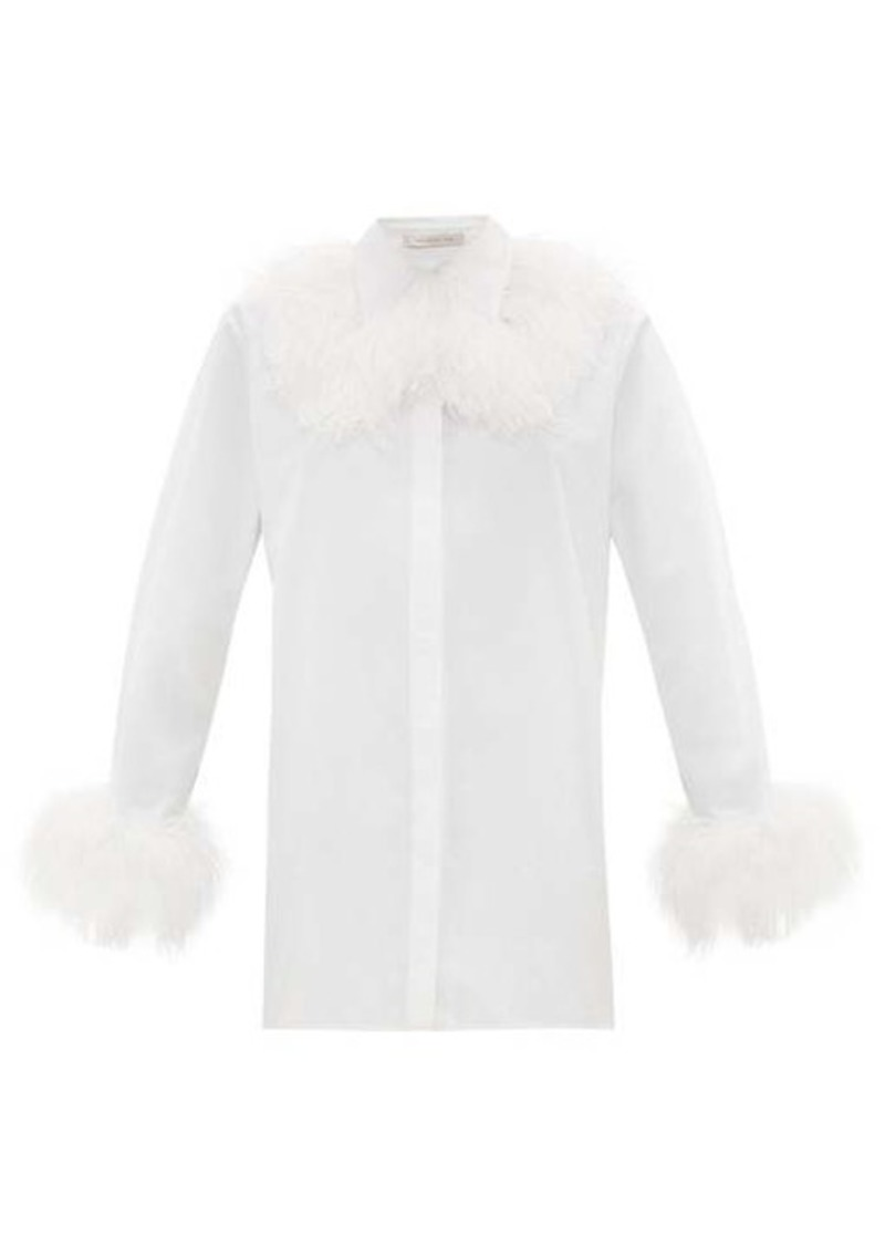 Christopher Kane Feather-trim cotton-poplin shirt
