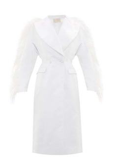 Christopher Kane Feather-trim double-breasted duchess-satin coat
