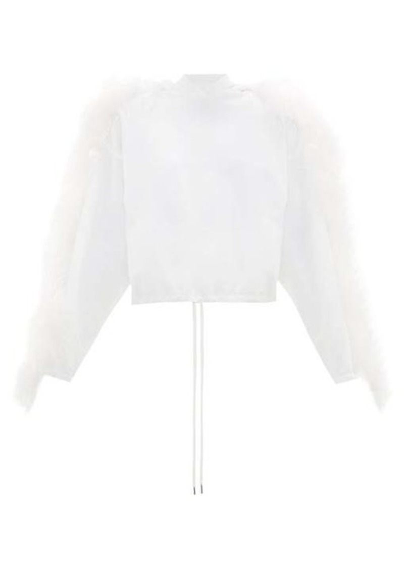 Christopher Kane Feather-trimmed cotton hooded sweatshirt