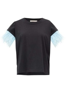 Christopher Kane Feather-trimmed jersey T-shirt