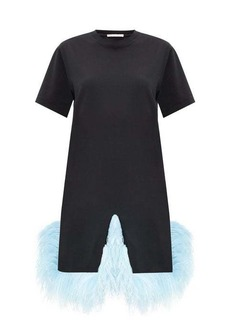 Christopher Kane Plumed-hem cotton-jersey T-shirt dress