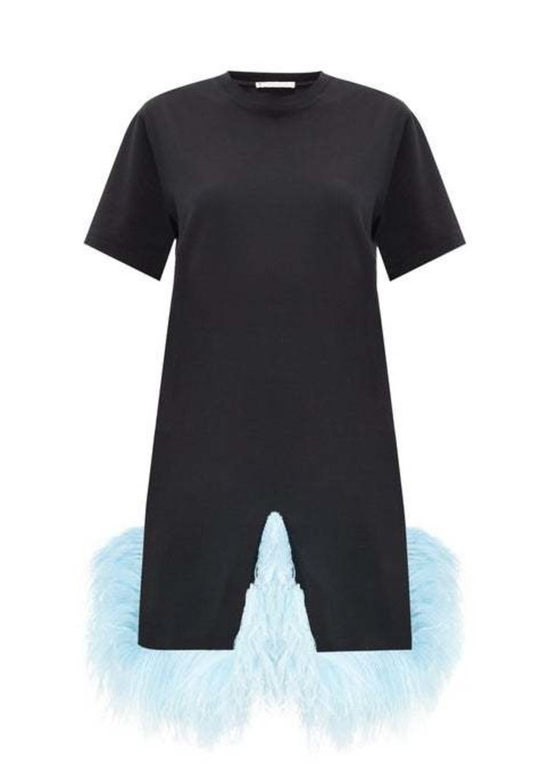 Christopher Kane Plumed-hem cotton-jersey T-shirt dress