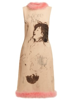 Christopher Kane Feather-trimmed printed silk dress