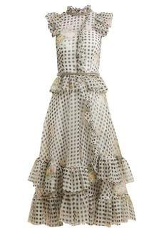 Christopher Kane Floral-print gingham silk-organza dress